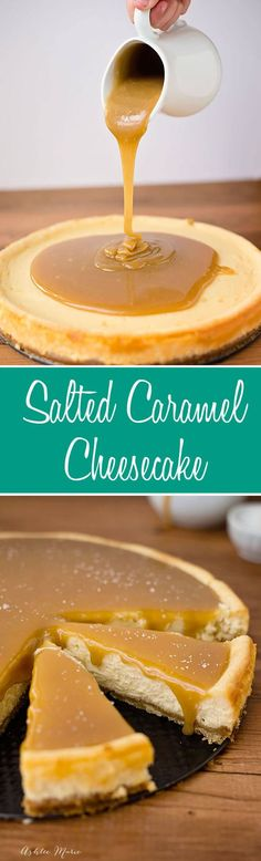 this salted caramel cheesecake is divine, creamy, smooth and tastes amazing via @ashleemariecakes