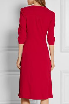 Red stretch-crepe  Button fastenings through front 98% viscose, 2% elastane Dry clean Designer color: Tango Made in Italy