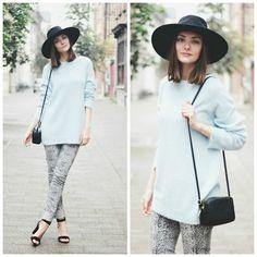 H Hat, Le Mont St. Michel Fluffy Sweater, H Box Bag, Vila Printed Jeans, Zara Sandals