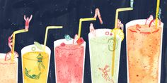 Monica Ramos - illustration for Canteen Mag about juices and smoothies [ If you don't juice it, you loose it. Art And Illustration, Food Illustrations, The Knack, Painting Collage, Retro Design, Teaching Art, Art Studios, Cute Art, Food Art