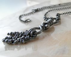 Sterling Silver Necklace. Rustic Oxidized Knot Pendant by aroluna, $115.00