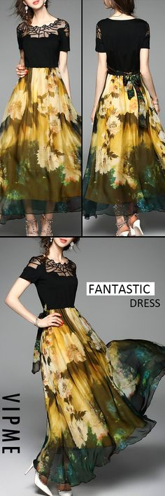 Fantastic Multicolor Bow Casual Maxi Dress