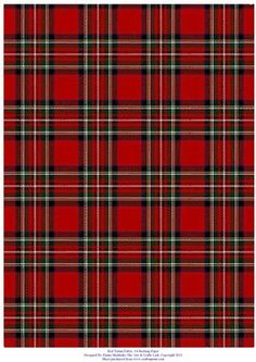 Red Tartan Effect A4 Backing Paper on Craftsuprint designed by Elaine Sheldrake - Perfect backing paper for matting cards and scrapbooking. - Now available for download!