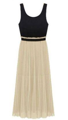 Black Apricot Sleeveless Elastic Waist Pleated Dress pictures