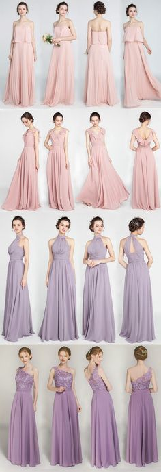 trending bridesmaid dresses with pink and purple colors