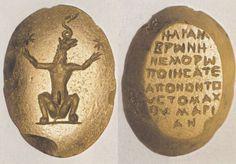 Talismans - Magical gem: Cynocephalus (A) Greek text (B)