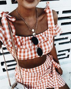 Cute gingham two piece outfit for summer.