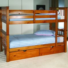 Pavo Pine Bunk Bed - Natural Pine Bunk Bed. Drawers are optional.