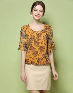 VIPme (VIPSHOP Global) - GUSTAVO ARANGO Yellow Sweet Round Neck Bell Sleeve Folds Floral T-shirt - AdoreWe.com
