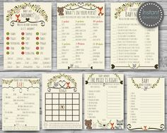 Woodland baby shower games package baby by MagicPartyDesigns