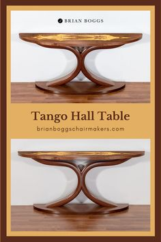 Elegant curves lift a curly maple table top while legs intertwine with precision. The Tango table dances into your entryway, meeting your guests with a sultry hello.Bent lamination forms the curves of the strong legs while seamless veneers compose a sturdy and enduring top, perfect for supporting that special sculpture or a cut-crystal vase filled with flowers. #table #tangotable #BrianBoggs #woodtable #furniture #craftsman