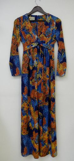 Vintage Dress 70s Long Sleeve Maxi Hippie by PinkCheetahVintage, $60.00
