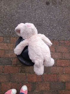 a very well loved pink Jellycat bunny found Sainsbury Portsmouth, now in their lost property :D via @VivereB PLS RT