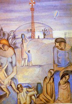 Salvador Dali : Figures in a Landscape at Ampurdan
