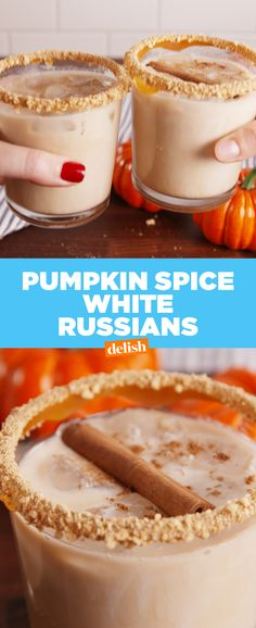 This tastes just like a boozy iced PSL  Get the recipe at Delish.com. #booze #boozy #PSL #pumpkins #alcohol #drinking