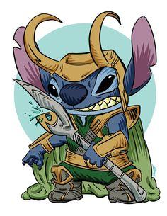Loki Stitch Parody Fan Art
