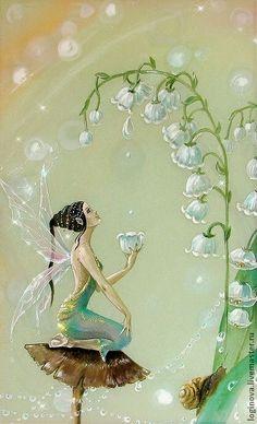 Lovely Lily-of-the-Valley Fairy fantasy. Fantasy Kunst, Fantasy Art, Lily Of Valley, Fairy Dust, Fairy Tales, Fairy Paintings, Elves And Fairies, Dark Fairies, Fantasy Fairies
