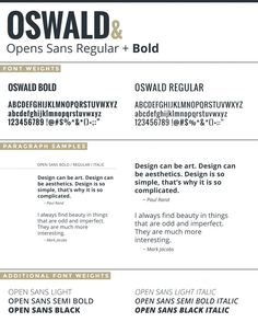 A Google Font Combination Design by Joseph Kiely with Oswald Bold and Open Sans