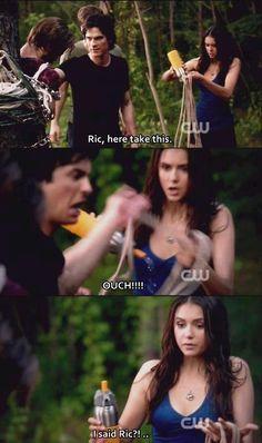 Haha! Damon's face! Loved this funny scene! The Vampire Diaries. Damon, Alaric, and Elena.