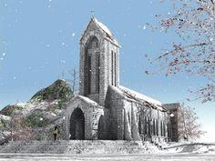 The #snow-covered Catholic church in #Sapa, #Vietnam