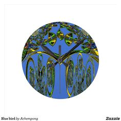 #Blue #bird #round wall clock#Hakuna #Matata #Clock #funny #penguin #saying, #steal #my #sanity, #with #quote #Cute #Quotes #Clocks