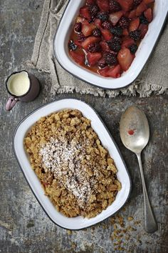 Savour Lesley Tumulty's crunchy apple and blackberry crumble Blackberry Crumble, Meal Planner, Acai Bowl, Healthy Eating, Heaven, Autumn, Apple, Magazine, Meals