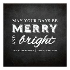 "Merry & Bright - Christmas Rustic Chalkboard 5.25"" Square Invitation Card"
