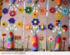 leuk om met kinderen te knutselen en alle bewaarde doppen, plastic flessen te gebruiken