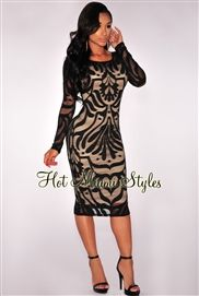 Black Victorian Net Nude Illusion Long Sleeves Dress