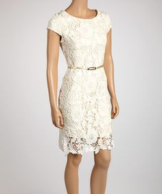 Take a look at this Off-White Lace Belted Sheath Dress by Luxology on #zulily today!