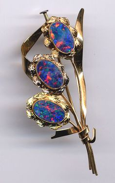 Vintage Brooch....10K Gold ....OPALS... by GibsonsVintageShop