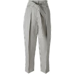 3.1 Phillip Lim cropped striped trousers (17.965 RUB) ❤ liked on Polyvore featuring pants, capris, bottoms, pants/jeans, trousers, blue, stripe pants, high rise pants, white trousers and high waisted striped pants