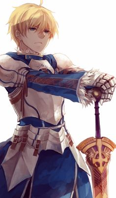 This is a pic of King Arthur  Pendragon (Saber) from Fate/Prototype. It would be interesting to find out more about him. What do you think?