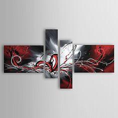 Peinture à l'huile réalisée à la main abstraite sur canevas tendu - Set de 4 - EUR € 91.99