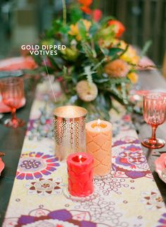 Gold dipped votives. Photography: White Loft Studio Design and Styling: Style Me Pretty