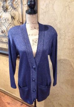 Dana-Buchman-Petites-Blue-Sparkly-Cardigan-Sweater-Top-Size-Small-Petite-Ps