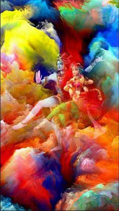 Lord Shiva and Parvati dancing in colorful Holi in creative art painting Shiva Parvati Images, Mahakal Shiva, Shiva Statue, Shiva Art, Lord Krishna Images, Lord Shiva Pics, Lord Shiva Family, Lord Shiva Hd Wallpaper, Lord Krishna Wallpapers