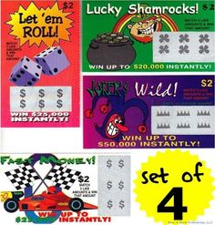 4 PHONY FAKE ALL WINNING SCRATCH OFF LOTTO LOTTERY TICKETS - Fun Gag Joke Prank #Fun These lottery tickets are the best joke around to do on people. They work just like any other lotto ticket just scratch off the section and Holy Sh_t_ I won! MOST REAL LOOKING fake lotto tickets made!