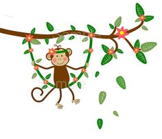 Jungle Monkey Swinging on Vine Baby GIrl Nursery by paintlessdeco, $69.99