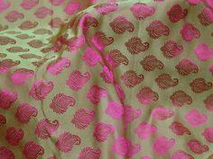 Green Indian Wedding Dress Jacquard Fabric Brocade By Yard | Etsy