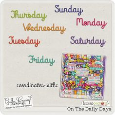 Quality DigiScrap Freebies: On The Daily Days word art freebie from Bella Gypsy