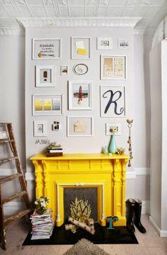 Yellow is an unexpectedly delightful hue for a vintage mantel contraste de couleurs cheminée jaune living salon