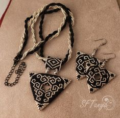 Triangle pendant and earrings