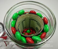 Mason Jar Money Gift -- Put a toilet paper roll in the middle with some cash. Fill the edges up (and hide the roll) with any candy you like. Diy Christmas Gifts, Holiday Gifts, Christmas Crafts, Christmas Ideas, Christmas Jars, Christmas Candy, Handmade Christmas, Christmas Time, Mason Jar Gifts
