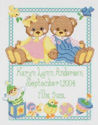 click here to view larger image of Baby Bears Birth Sampler (counted cross stitch kit)