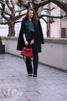 red / green & black / classic as always wearing a cos blouse, flared brad pants, asks glitter pumps & a classic red picard bag | lauracoeur.com