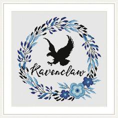 Ravenclaw Floral Crest Harry Potter Cross stitch pattern PDF