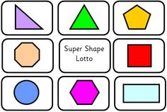 Play lotto games with these shape boards. Match to other shapes or to a verbal description