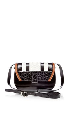 Black Shiny Calf, Chalky Python, And Black Embossed Croc U Bag by Proenza Schouler for Preorder on Moda Operandi