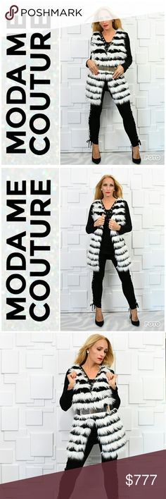 SASSY FAUX FUR BEST Brand New Boutique Item Price Is Firm Bundle To Save  Black & White strip FAUX FUR front vest with solid black backside. Fit is very complimentary!  Belt included. Pair with our lace up TOP and leggings for a fab look! Styling options are limitless.  True to size for style   **Chic classy street style popular trendy stripes best vests jacket coat timeless anniversary fall winter party holiday MODA ME COUTURE Jackets & Coats Vests